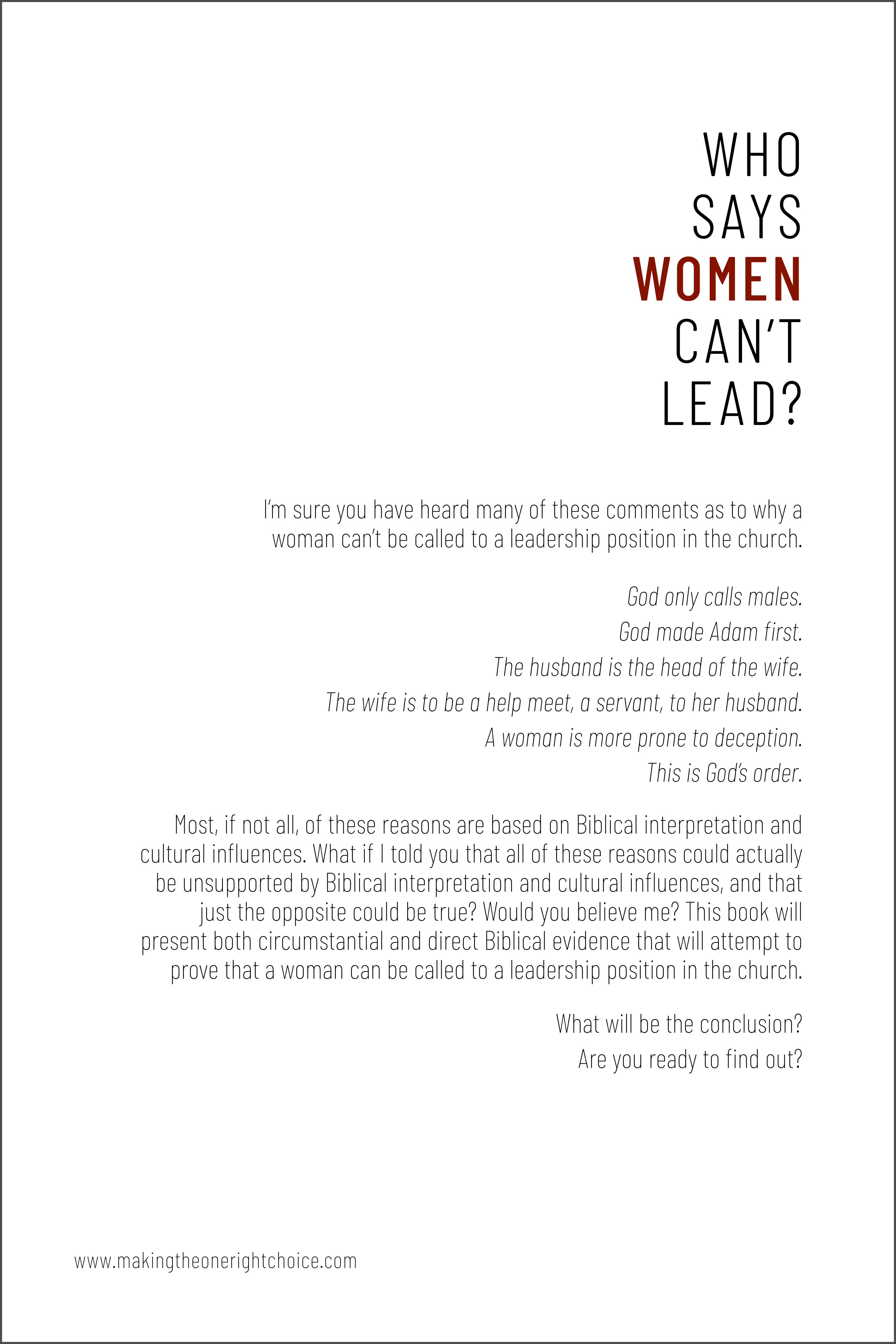 Who Says, Women Can't Lead? BACK COVER